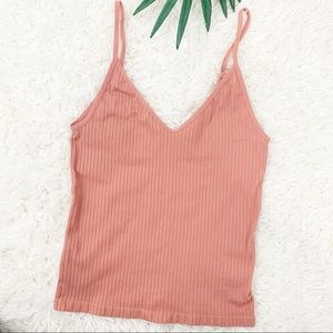 Express Salmon Ribbed Fitted Tank Top